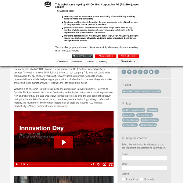"""Innovation is in our DNA"" - Oerlikon Blog - Without limits"