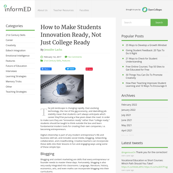 How to Make Students Innovation Ready, Not Just College Ready - InformED