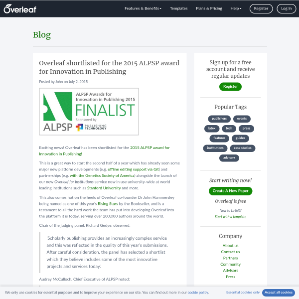 Overleaf shortlisted for the 2015 ALPSP award for Innovation in Publishing - Overleaf Blog
