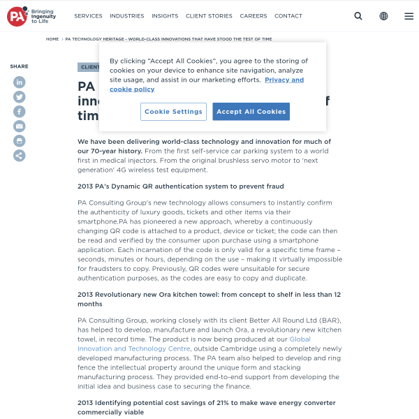 PA Technology Heritage - world-class innovations that have stood the test of time