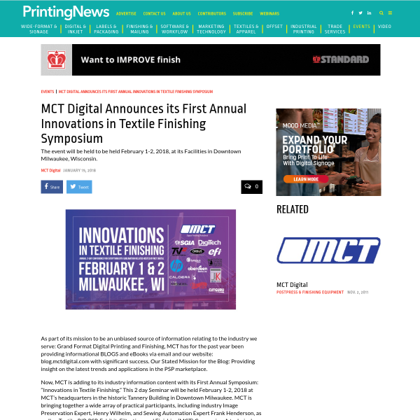 MCT Digital Announces its First Annual Innovations in Textile Finishing Symposium