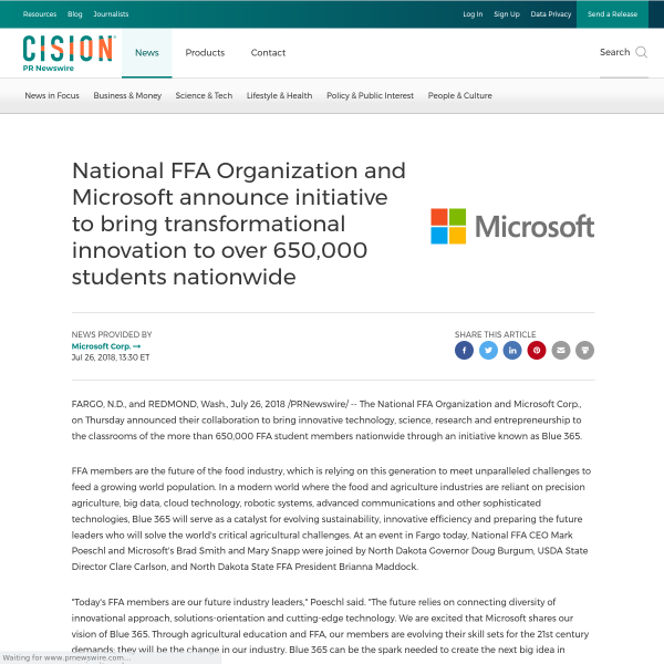 National FFA Organization and Microsoft announce initiative to bring transformational innovation to over 650,000 students nationwide