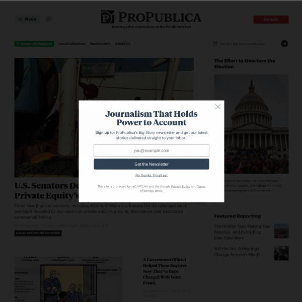 ProPublica — Investigative Journalism and News in the Public Interest screenshot