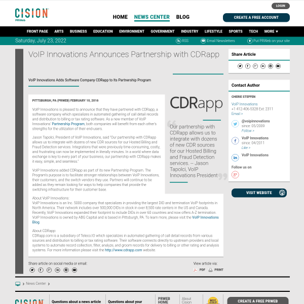 VoIP Innovations Announces Partnership with CDRapp