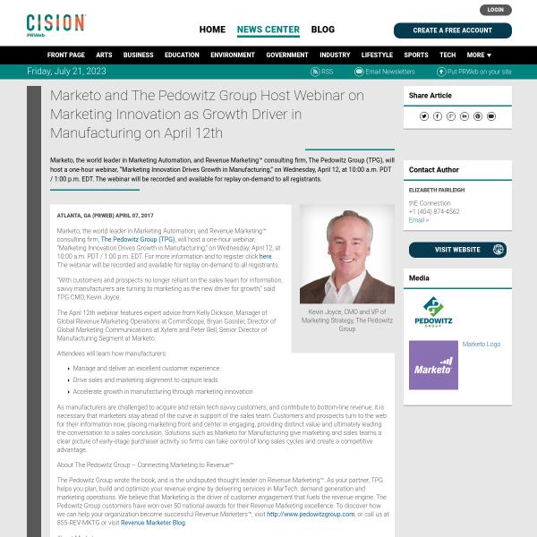 Marketo and The Pedowitz Group Host Webinar on Marketing Innovation as
