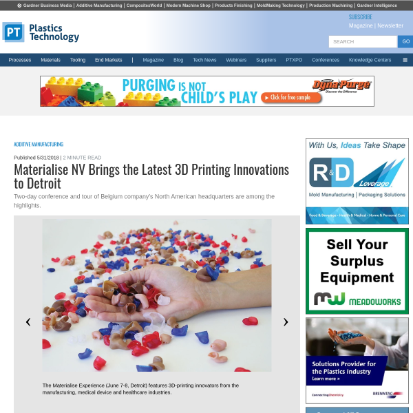 Materialise NV Brings the Latest 3D Printing Innovations to Detroit