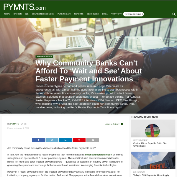 Why Community Banks Can't Afford To 'Wait and See' About Faster Payment Innovations