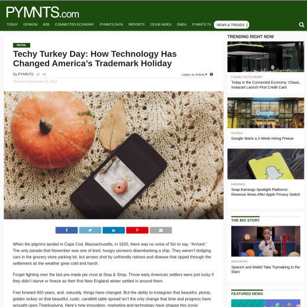 How Tech, Innovation Changed Thanksgiving - PYMNTS.com