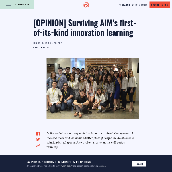 [OPINION] Surviving AIM's first-of-its-kind innovation learning