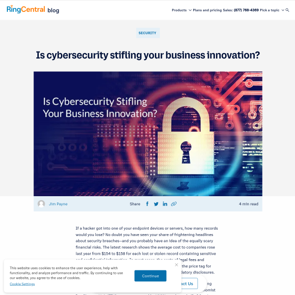 Is Cybersecurity Stifling Your Business Innovation? - RingCentral Blog