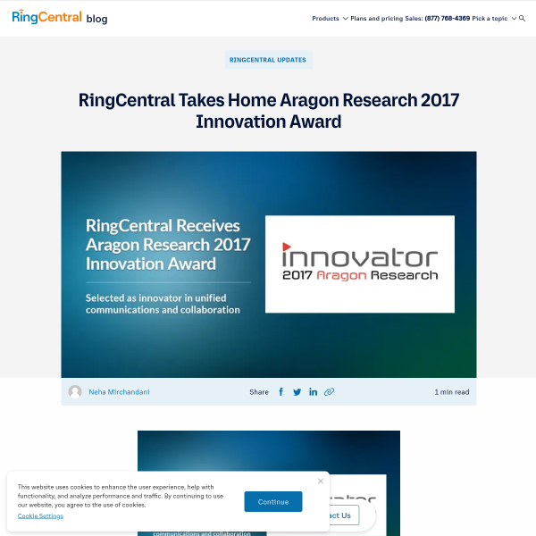RingCentral Takes Home Aragon Research 2017 Innovation Award - RingCentral Blog