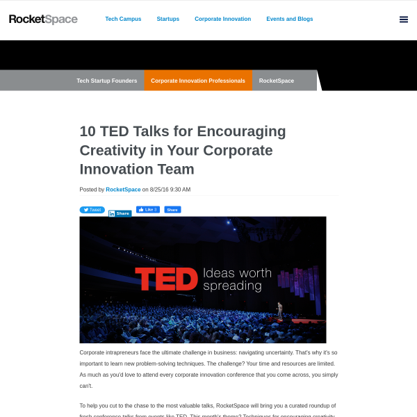 10 TED Talks for Encouraging Creativity in Your Corporate Innovation Team