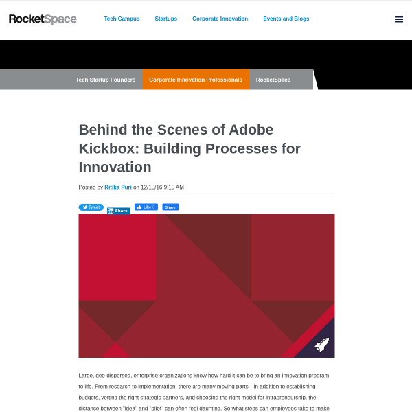Behind the Scenes of Adobe Kickbox: Building Processes for Innovation