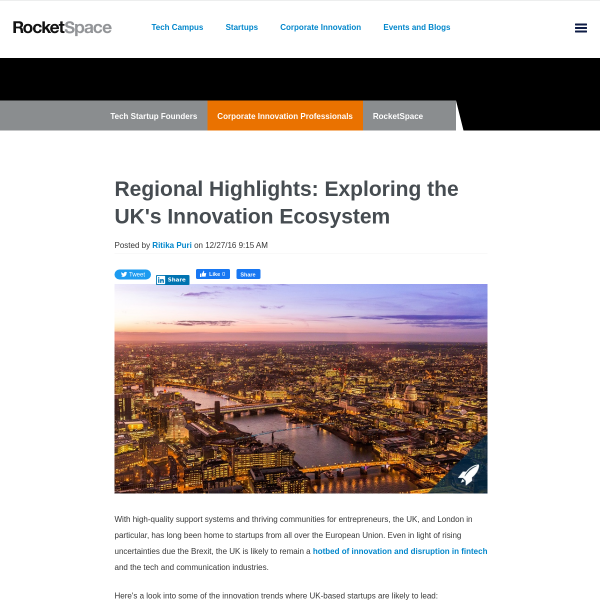 Regional Highlights: Exploring the UK's Innovation Ecosystem