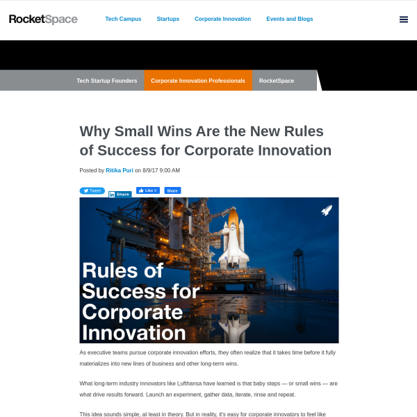 Why Small Wins Are the New Rules of Success for Corporate Innovation