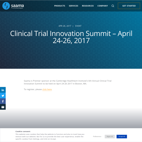Clinical Trial Innovation Summit - April 24-26, 2017 - Saama