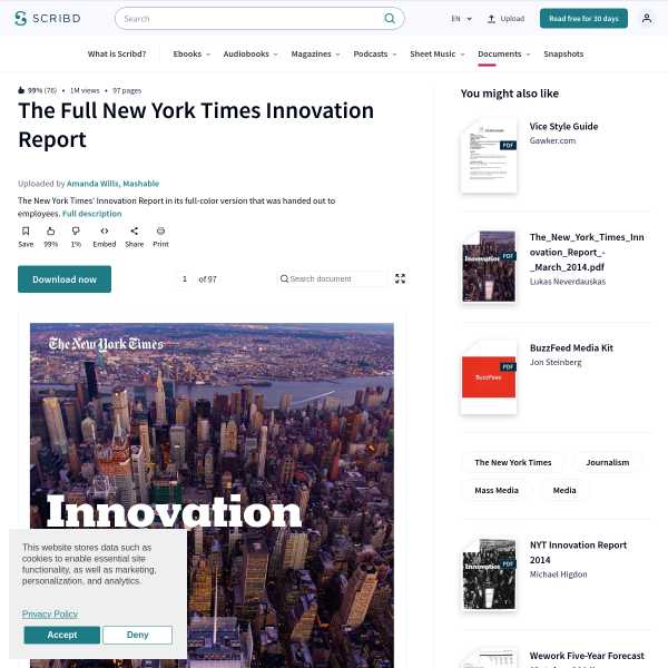 The Full New York Times Innovation Report - The New York Times - Journalism