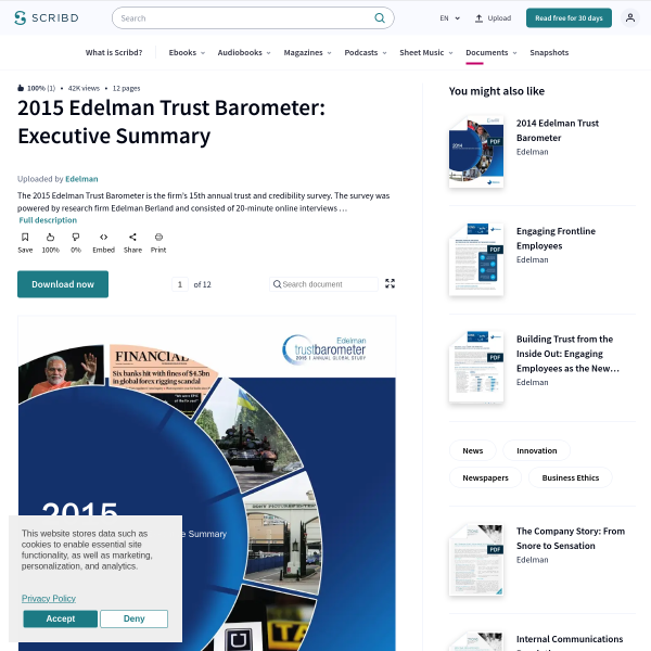 2015 Edelman Trust Barometer: Executive Summary - News - Innovation