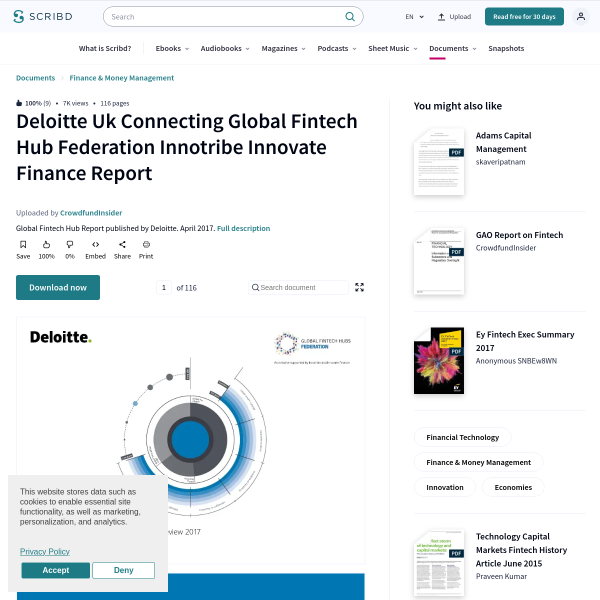 Deloitte Uk Connecting Global Fintech Hub Federation Innotribe Innovate Finance Report - Financial Technology - Innovation