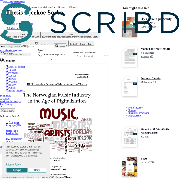 Thesis Bjerkoe Sorbo - Music Industry - Disruptive Innovation