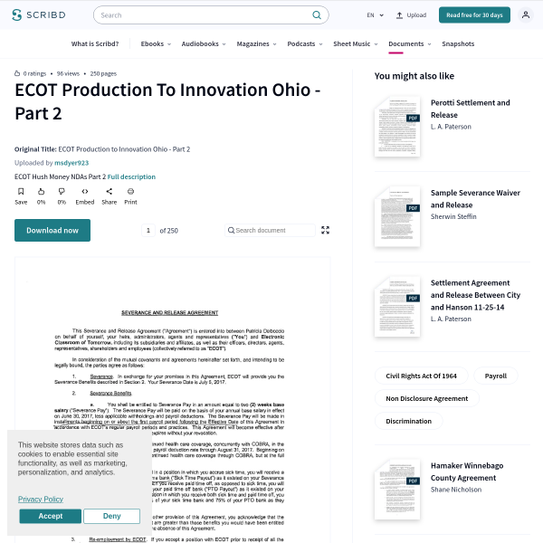 ECOT Production to Innovation Ohio - Part 2 - Civil Rights Act Of 1964 - Non Disclosure Agreement