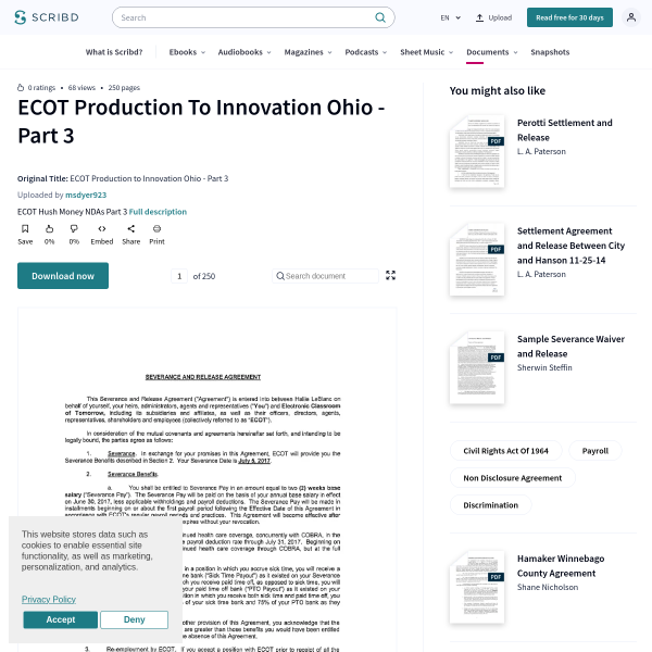 ECOT Production to Innovation Ohio - Part 3 - Civil Rights Act Of 1964 - Payroll