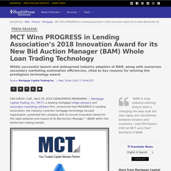 MCT Wins PROGRESS in Lending Association's 2018 Innovation Award for its New Bid Auction Manager (BAM) Whole Loan Trading Technology - Send2Press Newswire