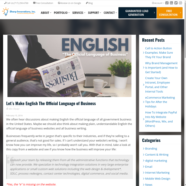 Let's Make English The Official Language of Business - Sharp Innovations Blog