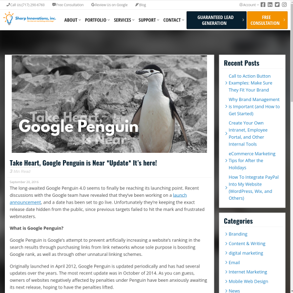 Take Heart, Google Penguin is Near *Update* It's here! - Sharp Innovations Blog