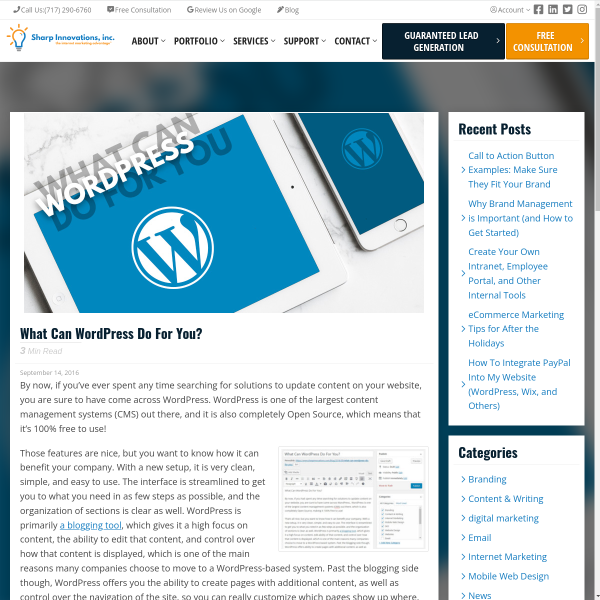 What Can WordPress Do For You? - Sharp Innovations Blog