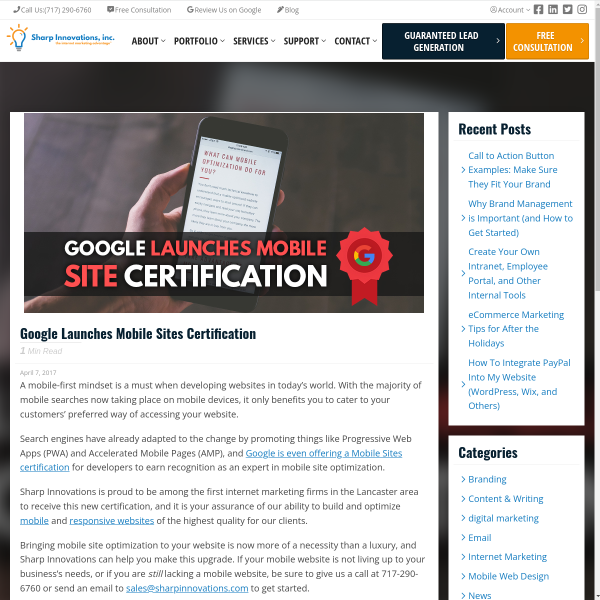 Google Launches Mobile Sites Certification - Sharp Innovations Blog