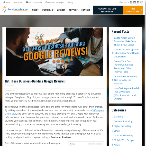 Get Those Business-Building Google Reviews! - Sharp Innovations Blog