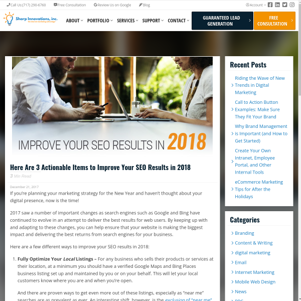 Here Are 3 Actionable Items to Improve Your SEO Results in 2018 - Sharp Innovations Blog