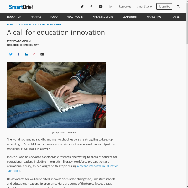 A call for education innovation