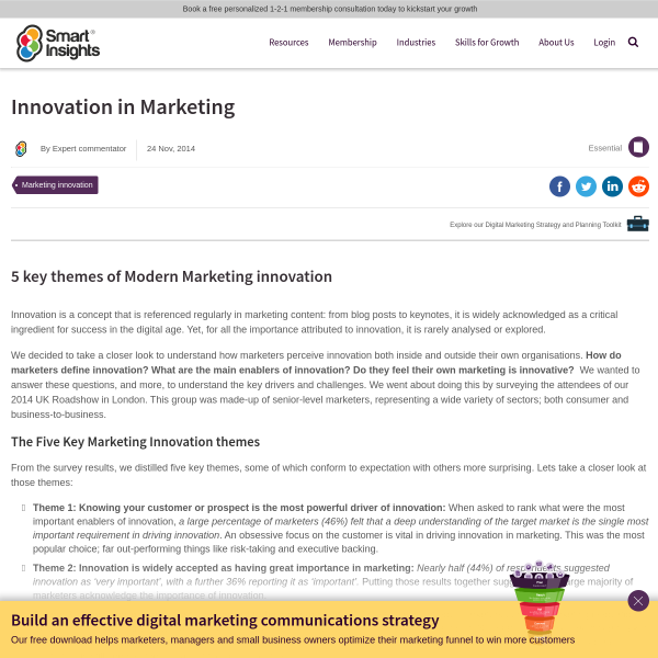 Innovation in Marketing - Smart Insights