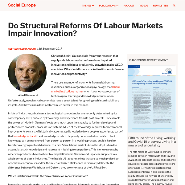 Do Structural Reforms Of Labour Markets Impair Innovation? • Social Europe