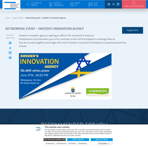 Networking event - Sweden's Innovation Agency - Start-Up Nation Central