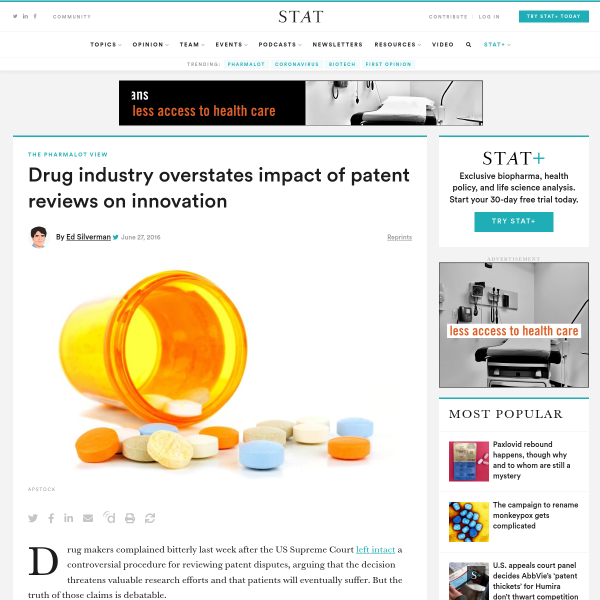 Drug industry overstates patent reviews' impact on innovation