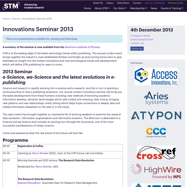Innovations Seminar 2013 - STM