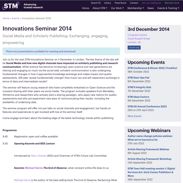Innovations Seminar 2014 - STM