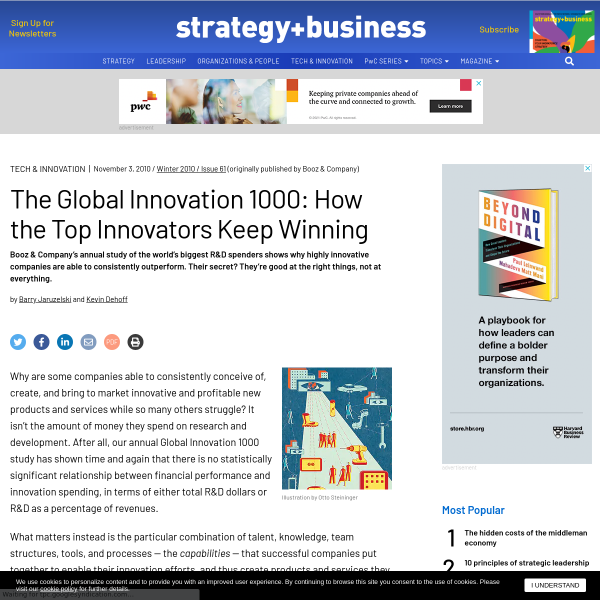The Global Innovation 1000: How the Top Innovators Keep Winning