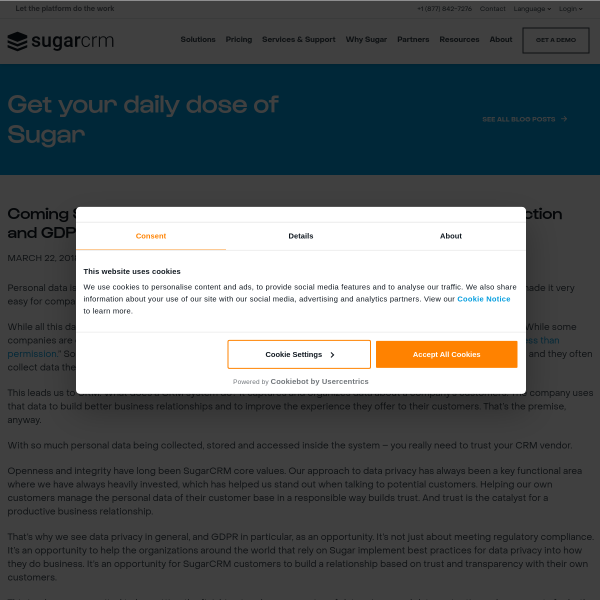 Coming Soon: Innovation from SugarCRM to address Data Protection and GDPR
