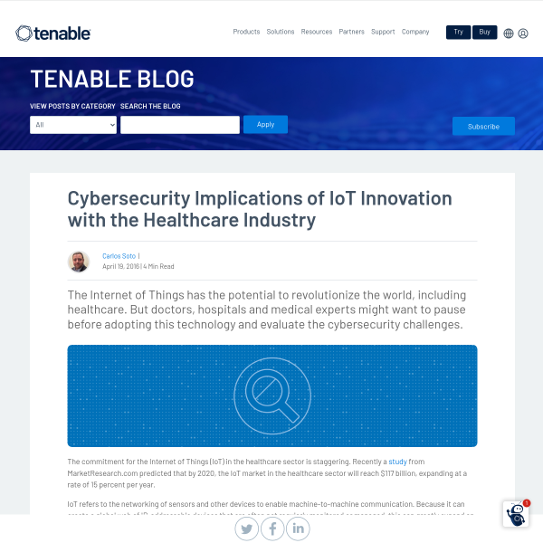 Cybersecurity Implications of IoT Innovation with the Healthcare Industry