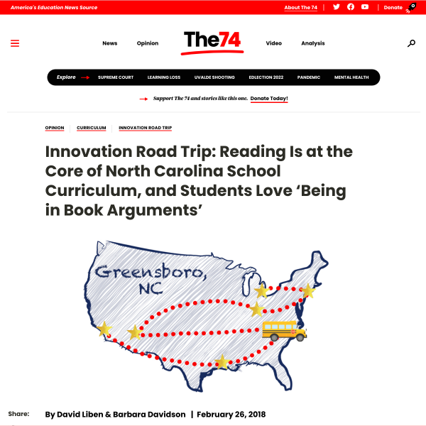Innovation Road Trip: Reading Is at the Core of North Carolina School Curriculum, and Students Love 'Being in Book Arguments'