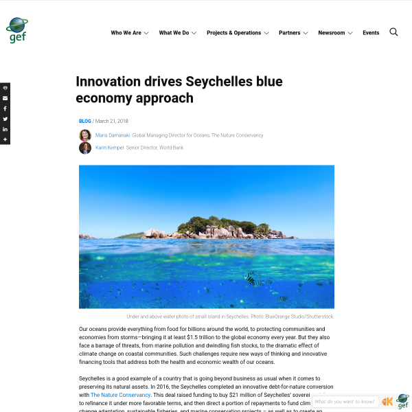 Innovation drives Seychelles blue economy approach