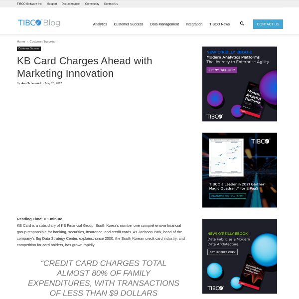 KB Card Charges Ahead with Marketing Innovation - The TIBCO Blog