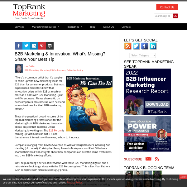 B2B Marketing & Innovation - Share Your Best Tip & Win Books from @TopRank & @MarketingProfs