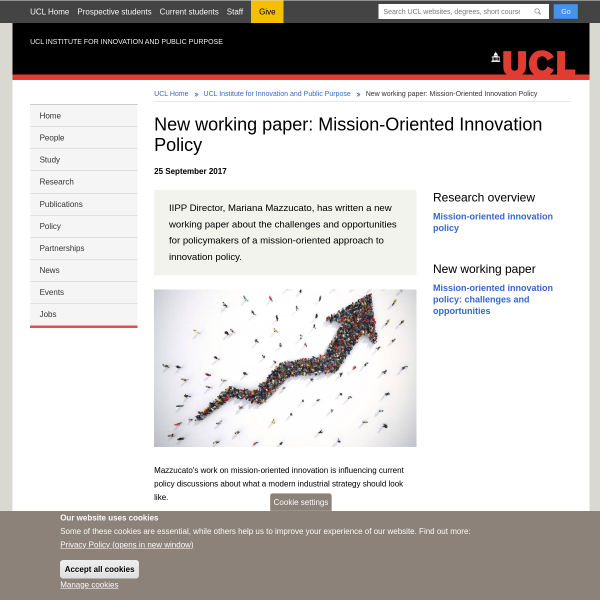 New working paper: Mission-Oriented Innovation Policy