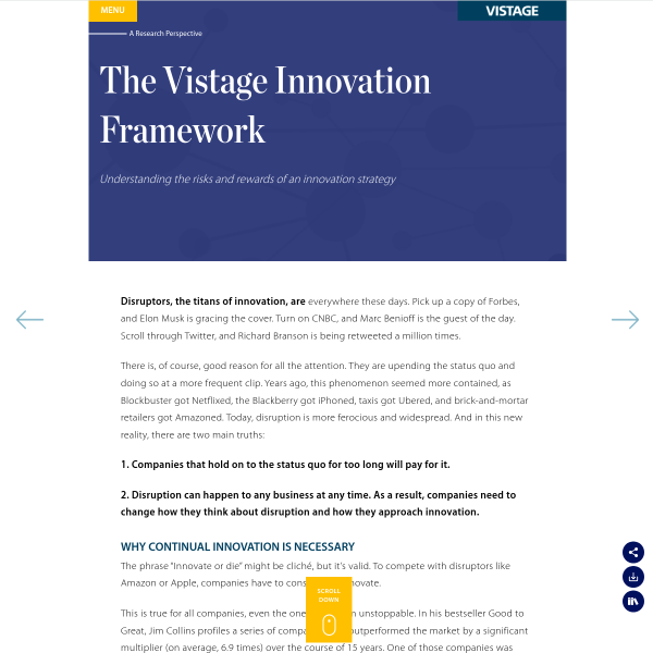 The Vistage Innovation Framework - Vistage
