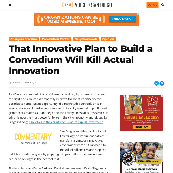That Innovative Plan to Build a Convadium Will Kill Actual Innovation - Voice of San Diego